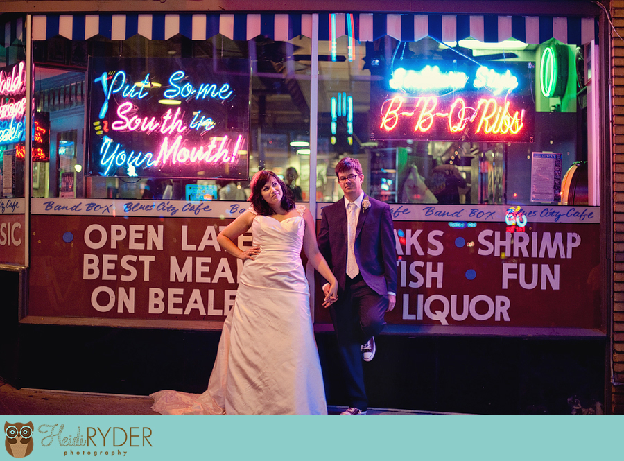 Memphis wedding photography on Beale Street