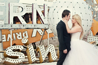 Las Vegas Neon Boneyard Bridal shoot