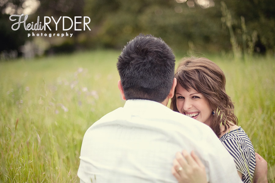 Los Angeles engagement photos in a field