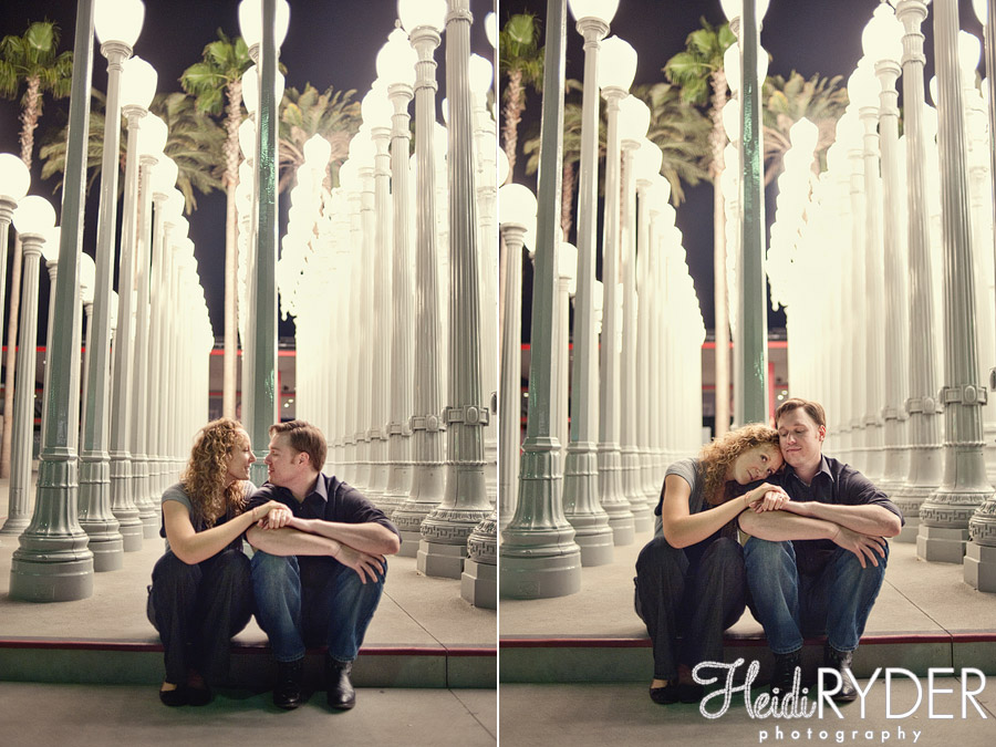 LACMA Urban Light lampposts engagement photos