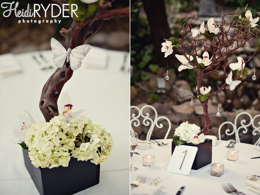 Inn of the Seventh Ray wedding photo centerpiece with butterflies