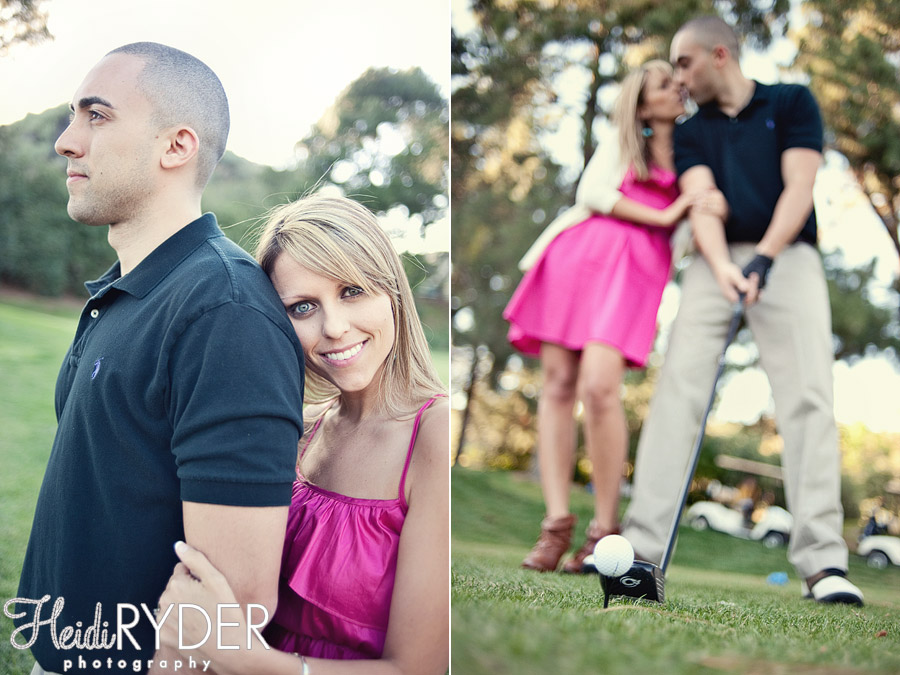 Golf Themed Engagement photos