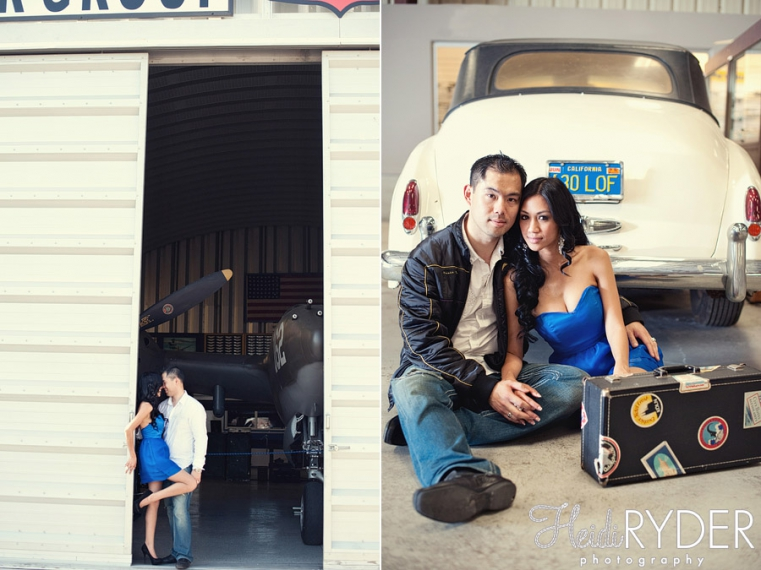 couple in airplane hangar, vintage car, airplanes