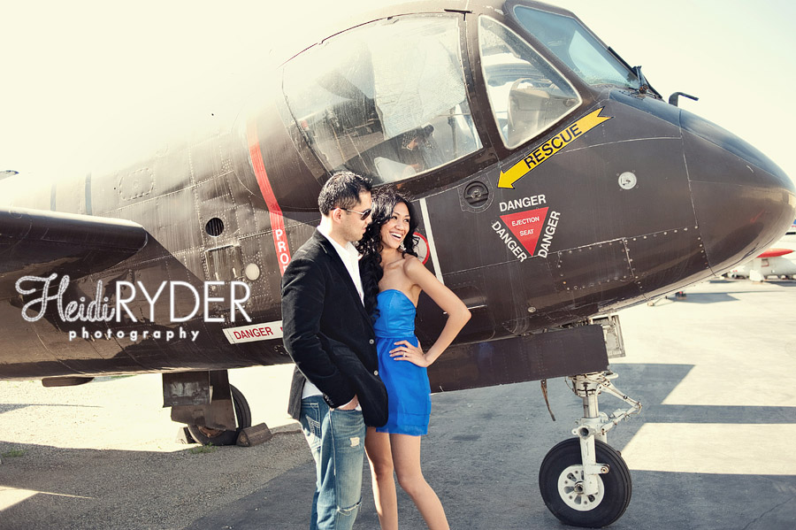 Couple with vintage airplane