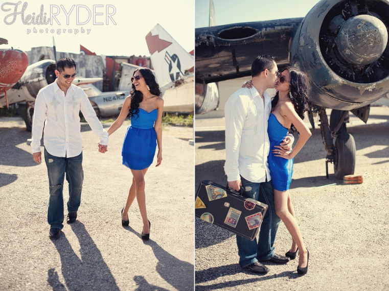 Vintage planes engagement session