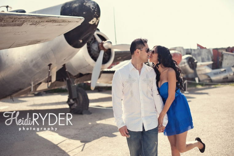 couple with vintage planes engagement