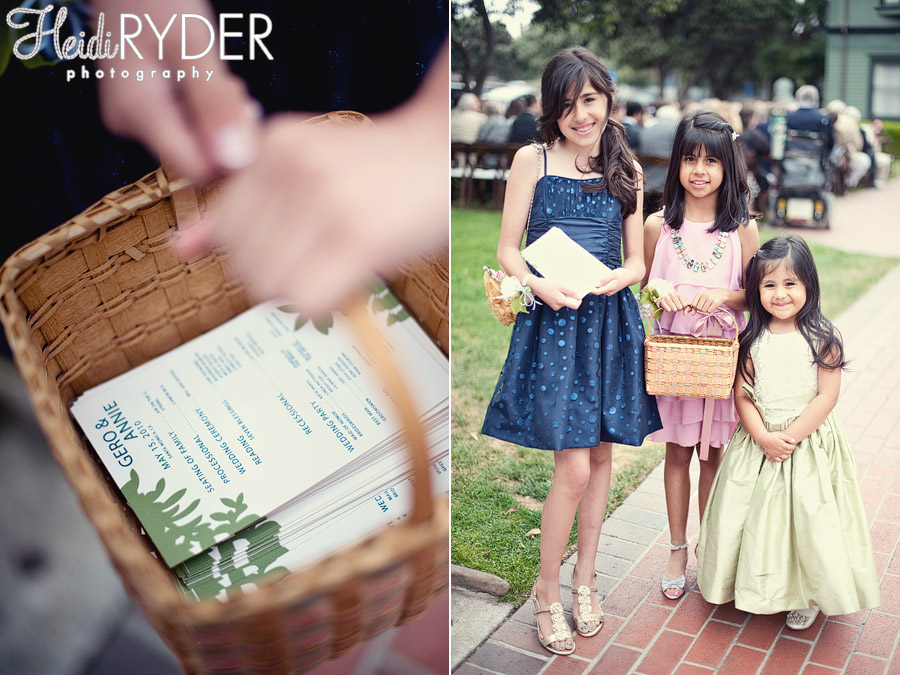 girls with wedding programs in basket