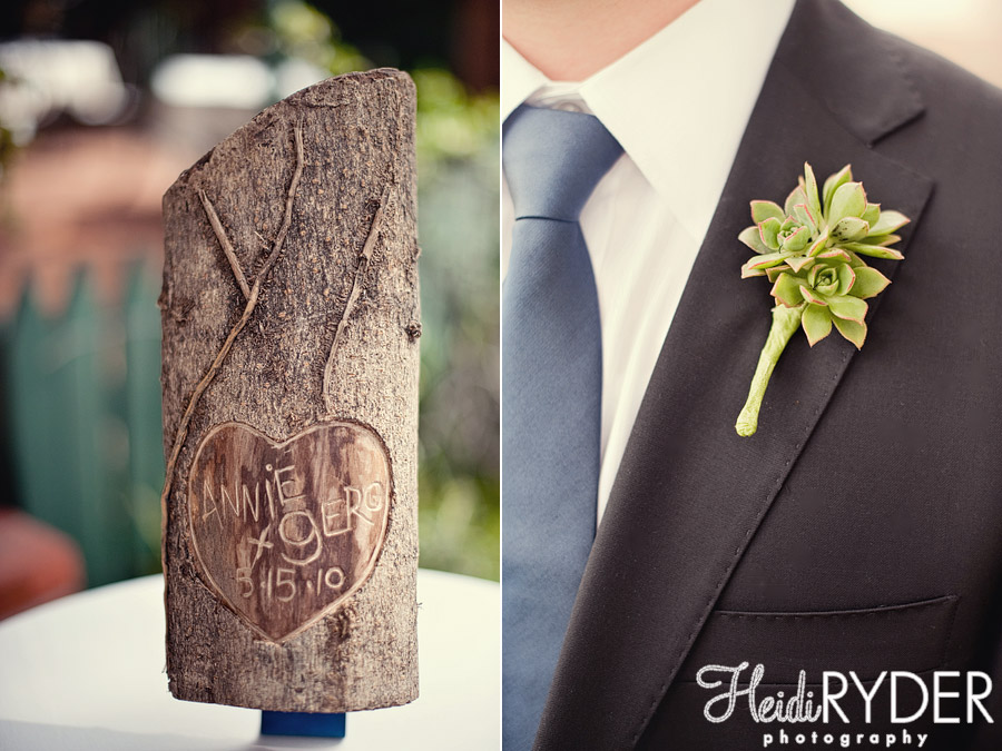 names carved into a tree, succulent boutonniere
