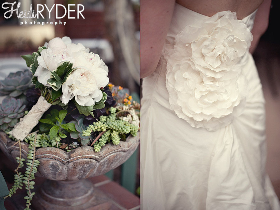 Succulent wedding bouquet, floral details on dress