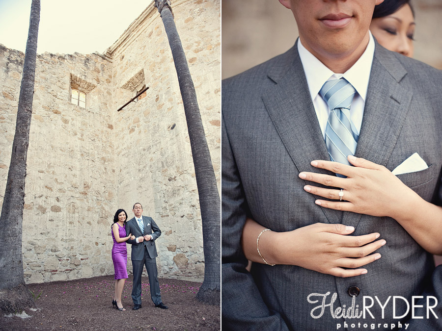 couple with old architecture engagement photo