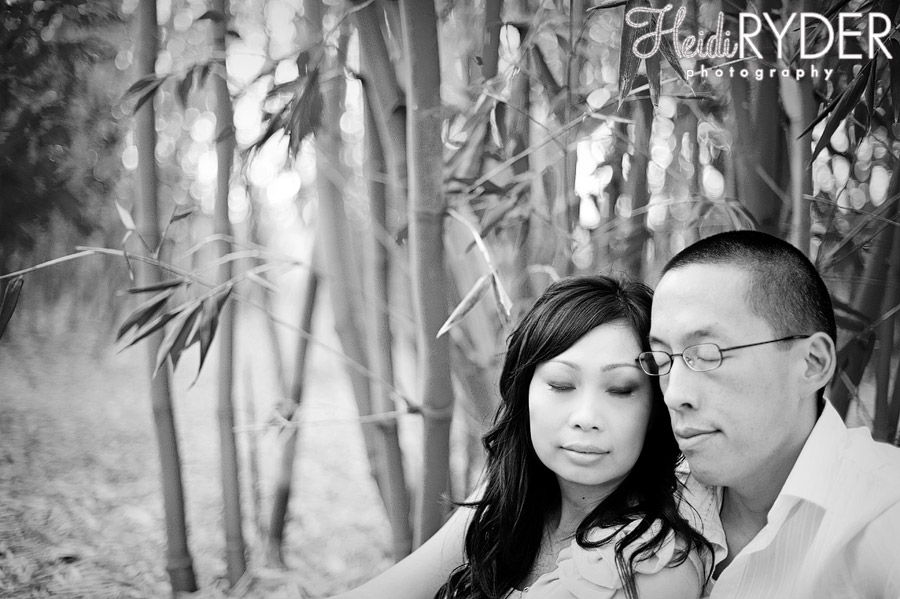 couple in thick grove of bamboo
