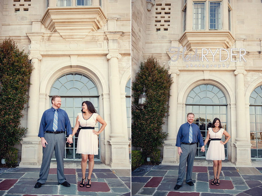 couple standing in front of Greystone Mansion