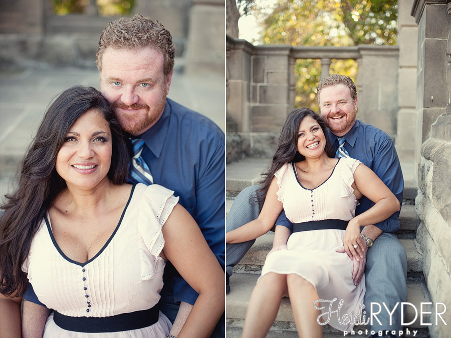 Couple sitting on steps at Greystone Mansion