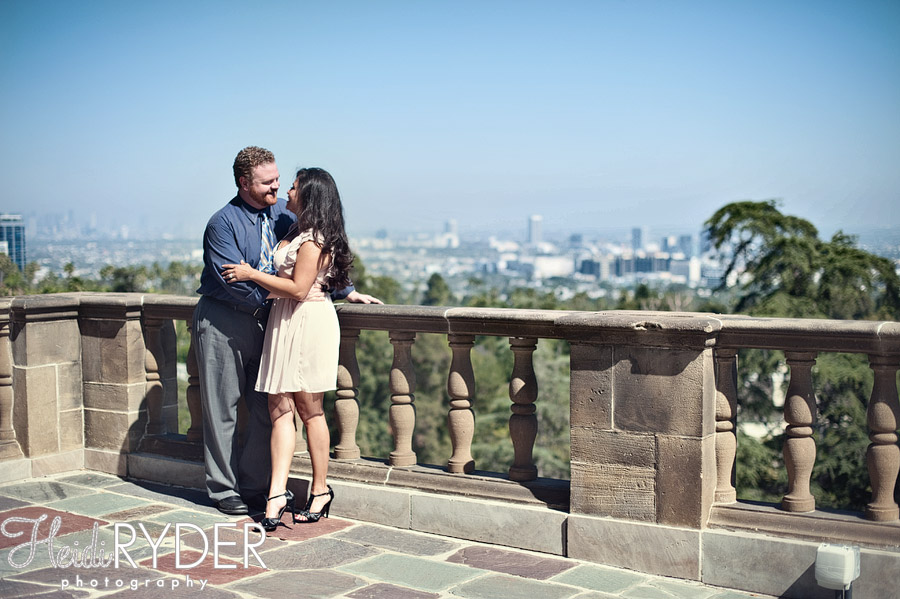 couple overlooking Los Angeles at Greystone Mansion