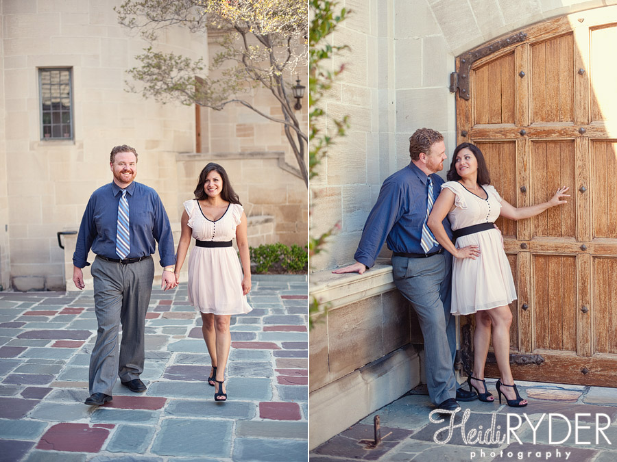 Engaged couple on grounds at Greystone Mansion