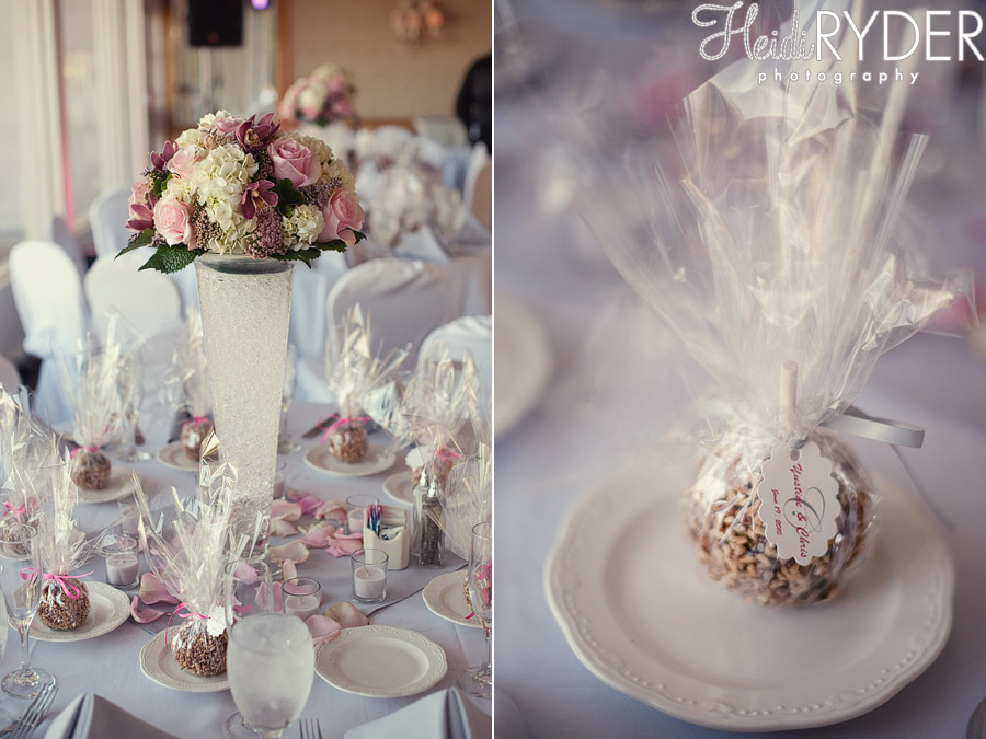 pink flower wedding cerpieces, candy apple favors