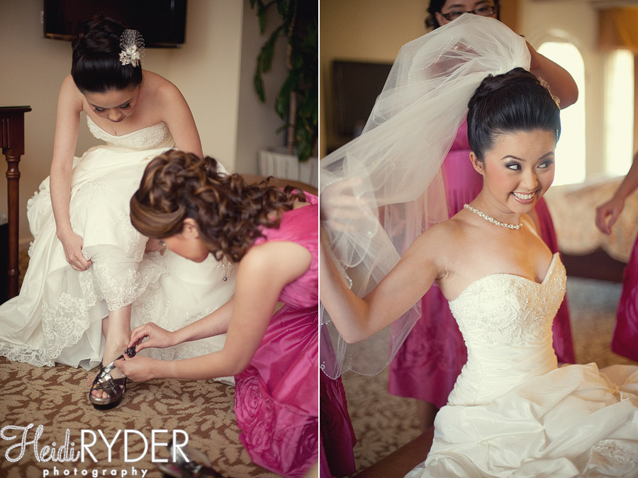 bride getting ready at mission inn, riverside