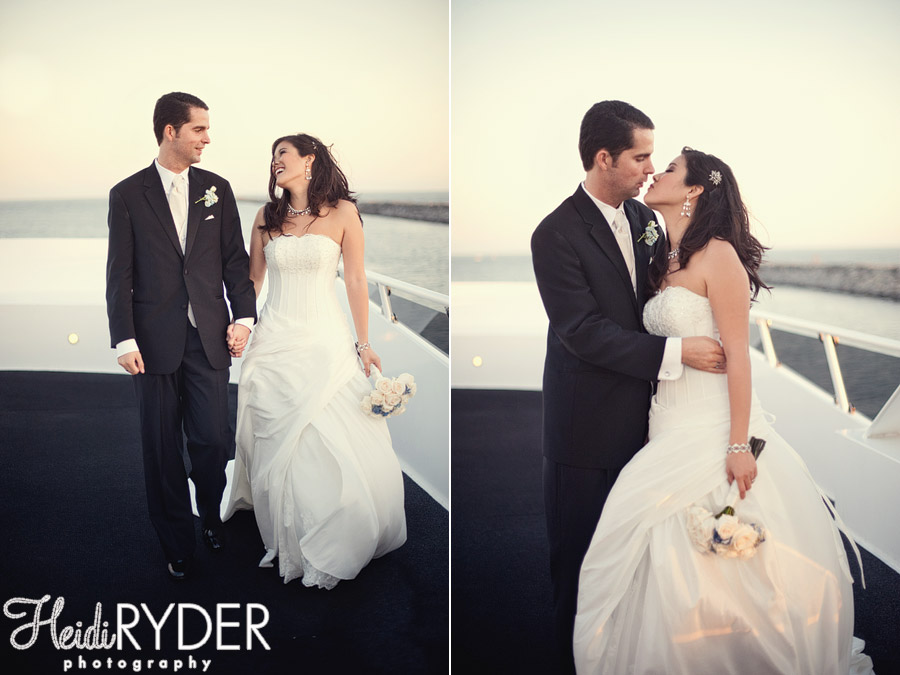 Bride and groom portraits on a yacht