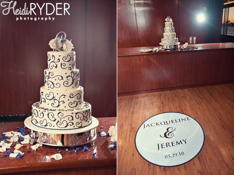 cake and dance floor decals for yacht wedding