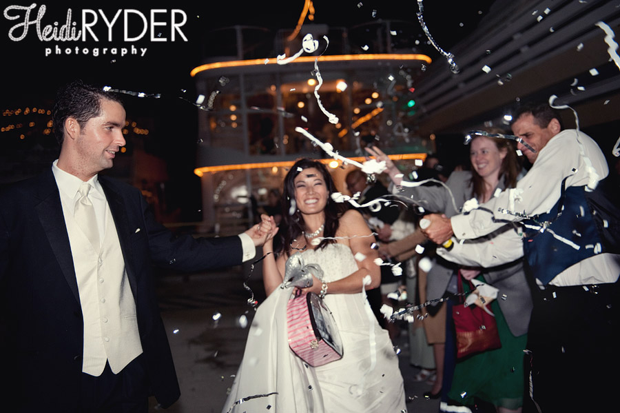 bride and grooom send off with confetti
