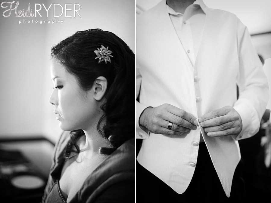 Bride and Groom getting ready on wedding day