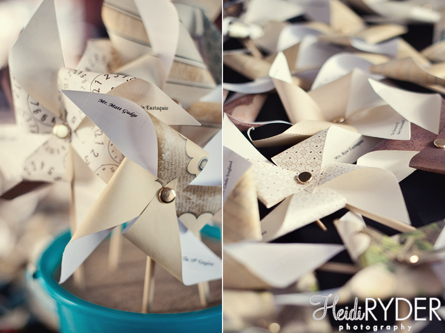 Pinwheels place cards for wedding