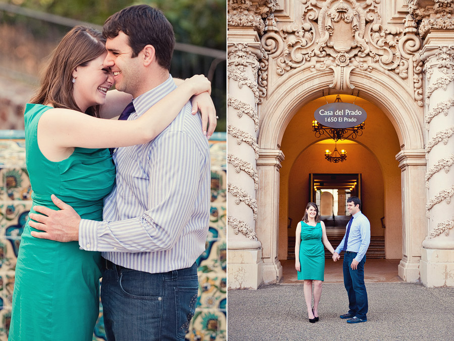Couple standing in Balboa Park San Diego