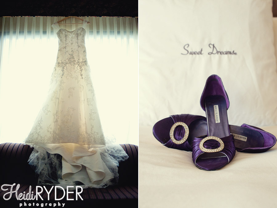 wedding dress and Manolo Blahnik shoes