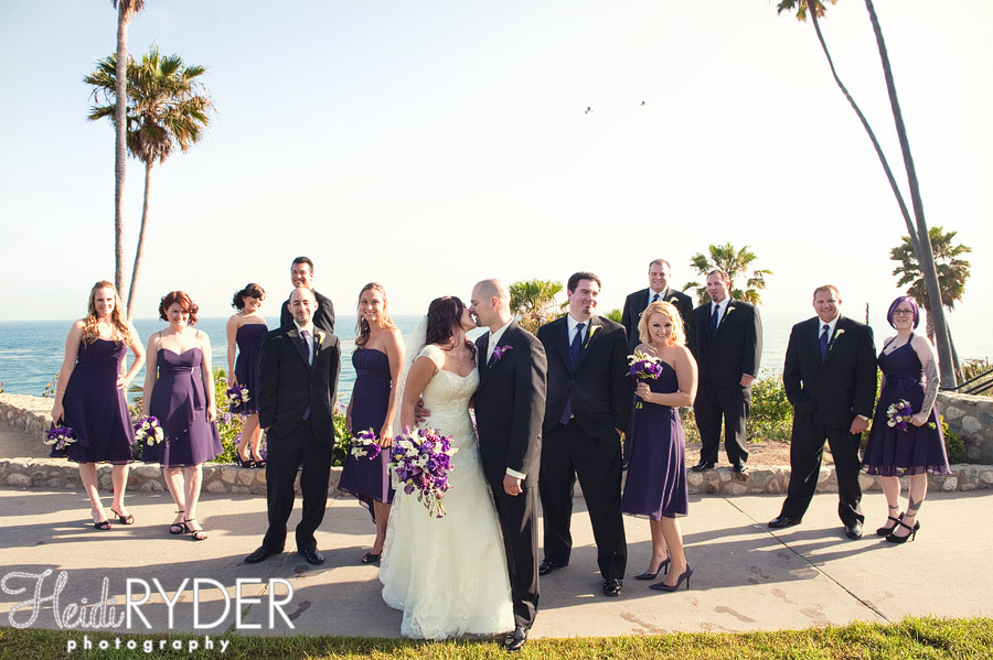 wedding party portrait on beach
