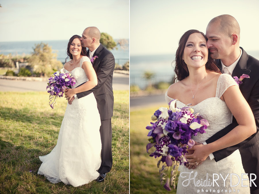 bride and groom portraits on beach