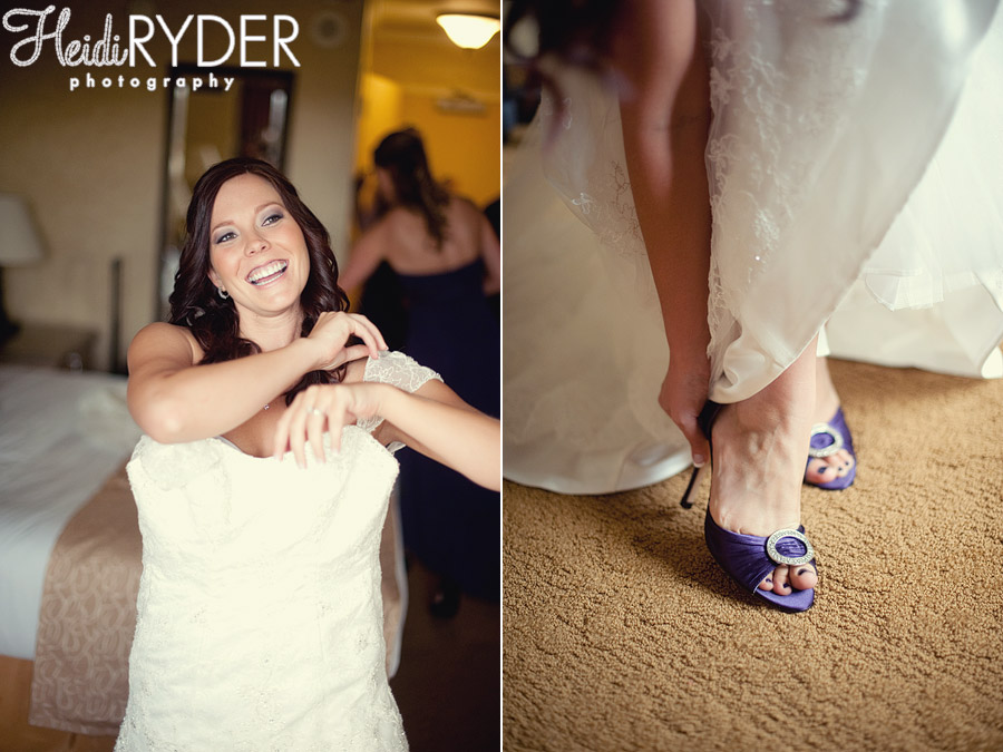 Bride stepping into wedding gown and shoes