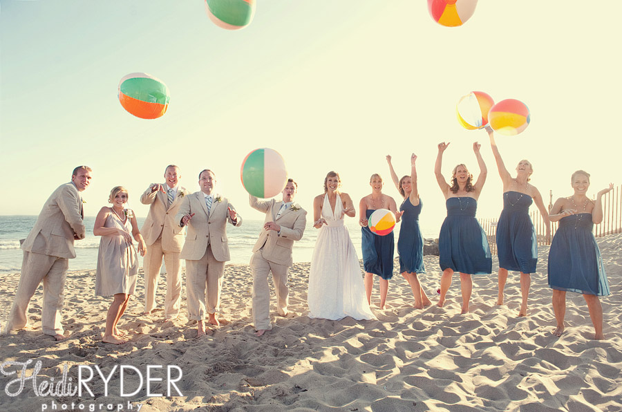 wedding party with beach balls