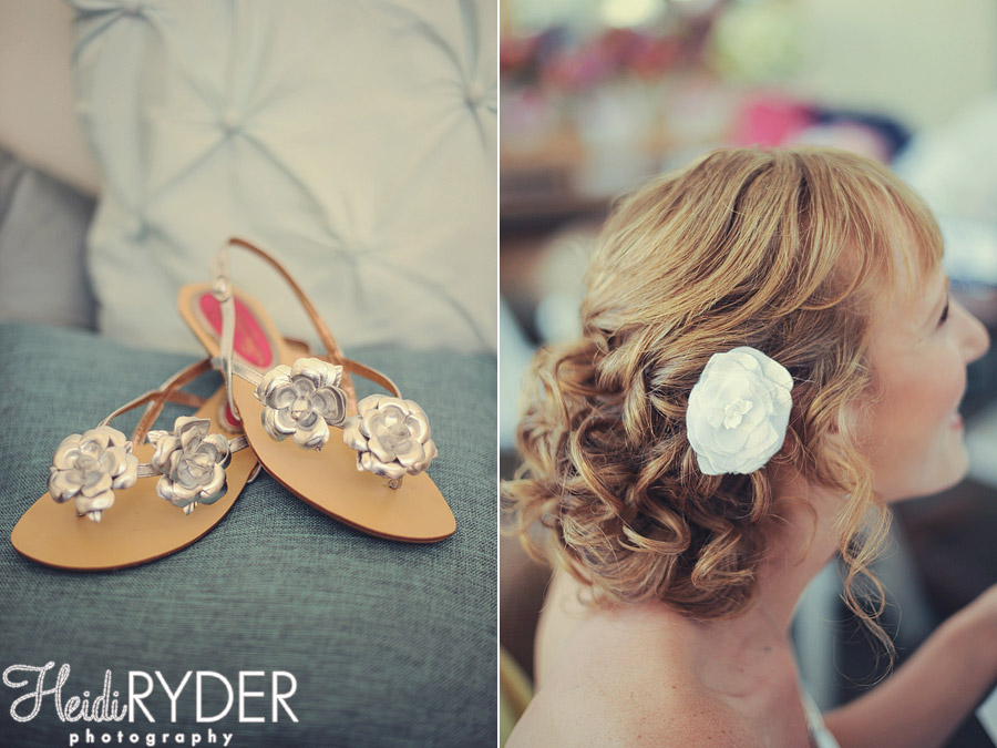 wedding sandals and floral hair piece