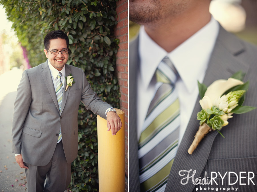 groom in suit with succulent boutenierre