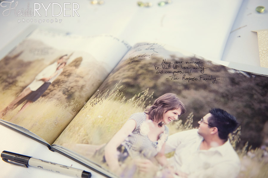 guestbook with engagement photos