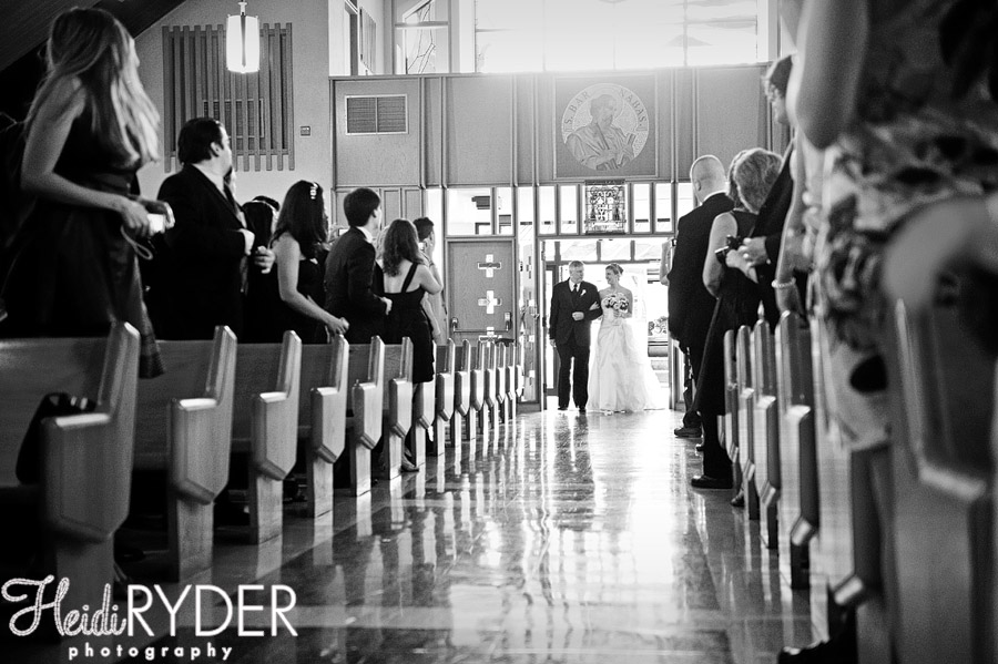 bride entering church with father