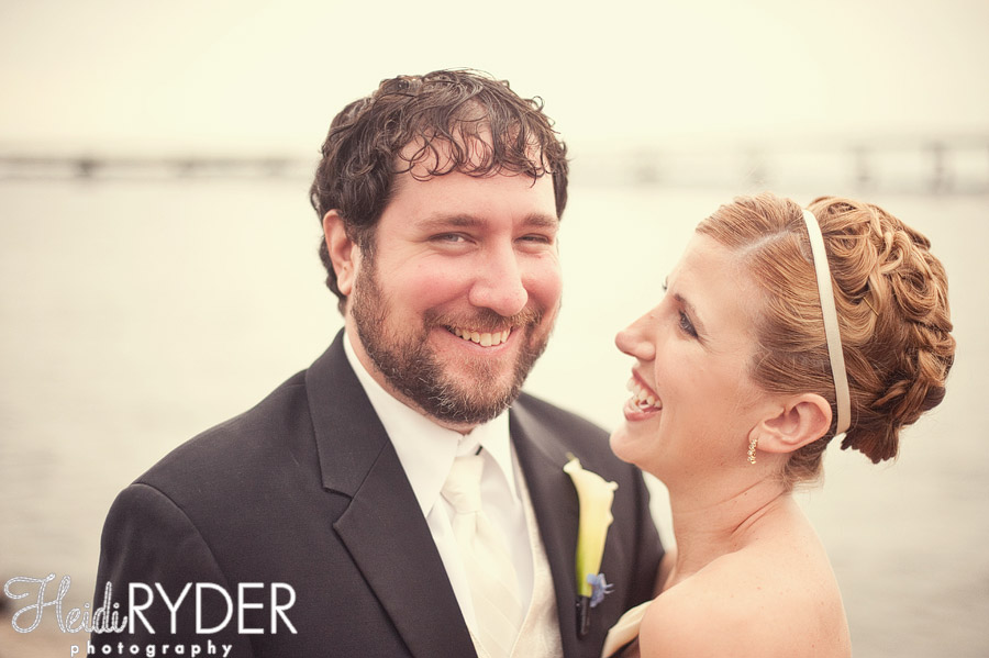 bride laughing with groom