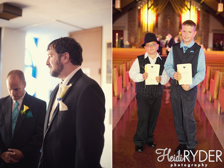 groom at church, ushers with programs
