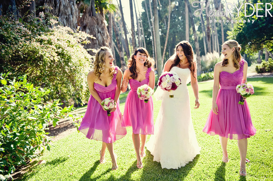 bride and bridesmaids in pink dresses