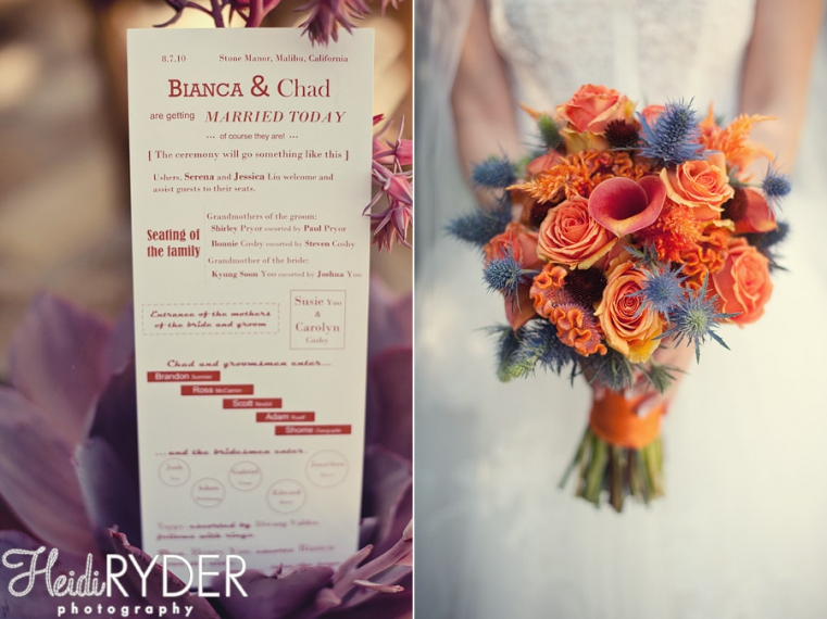 wedding program and orange/blue bouquet
