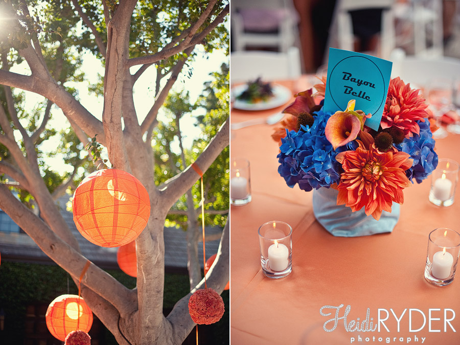orange and blue wedding details