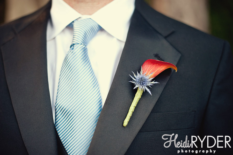 orange and blue boutonniere