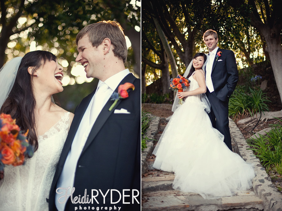 bride and groom romantic portraits