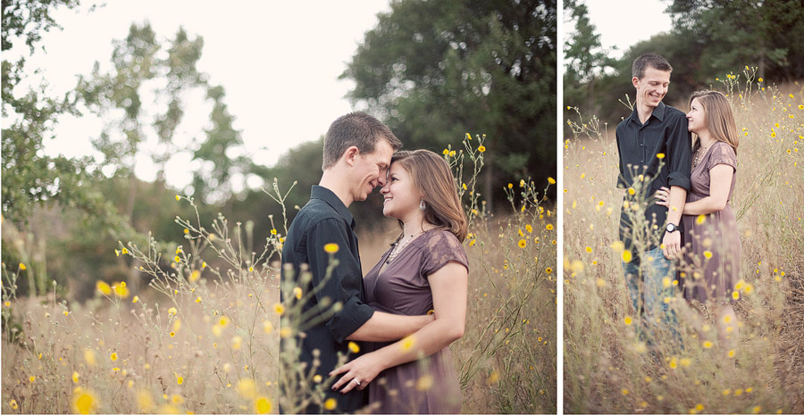 yellow flowers engagement photo