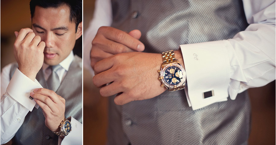 groom with embroidered cuff