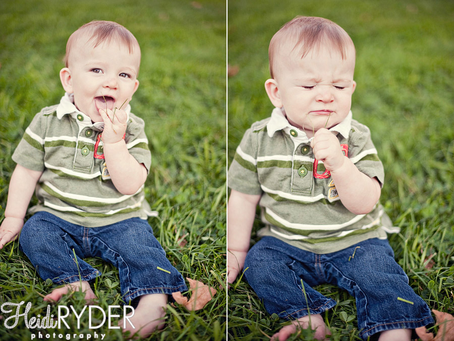 baby eating grass