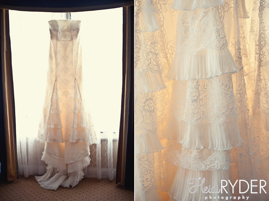 lace wedding dress in window