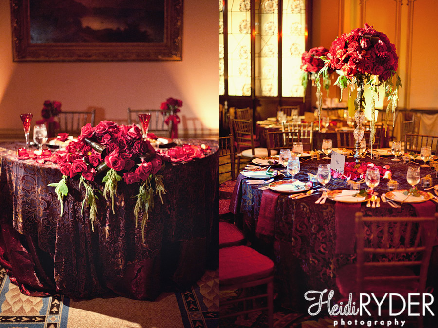 deep red wedding florals
