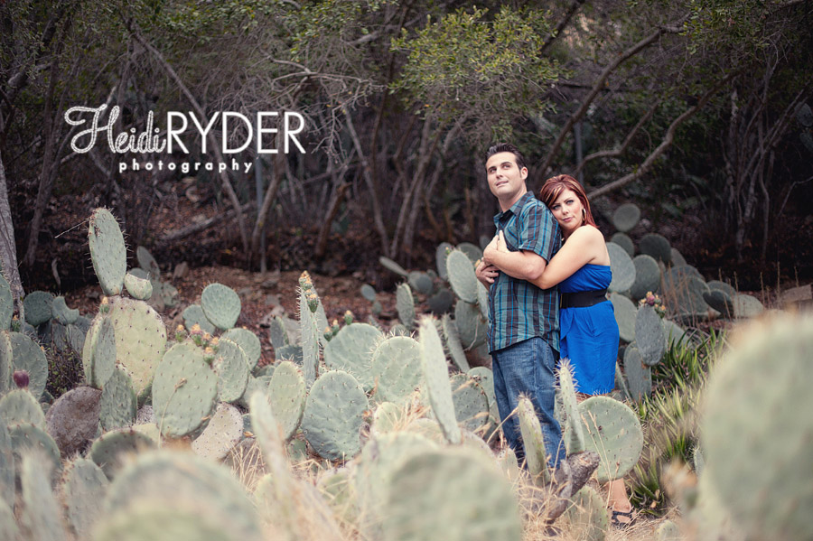 engaged couple with cactus