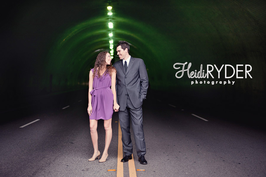 engagement photos in tunnel